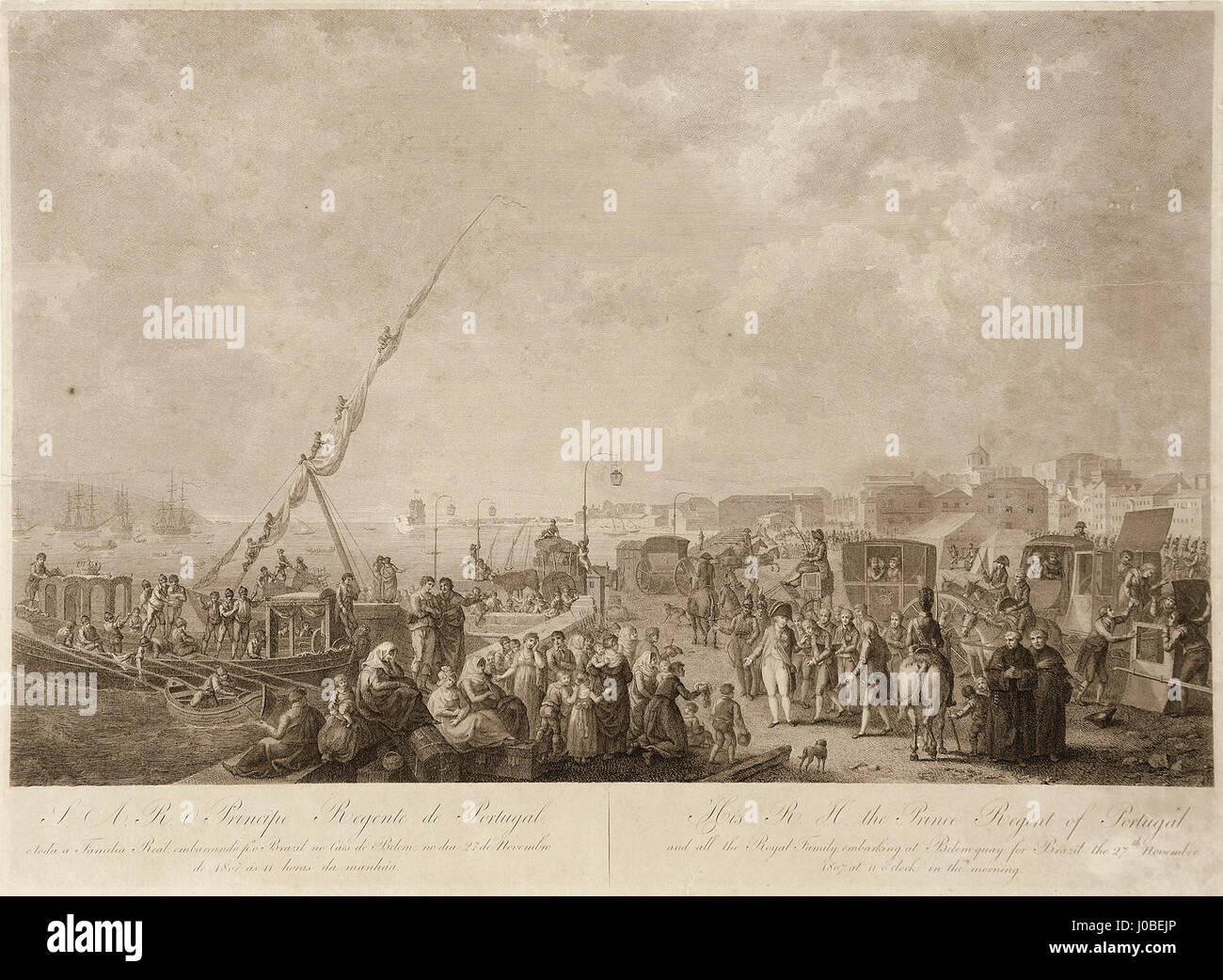Francesco Bartolozzi, Henri Lévêque - Embarque de D. João VI para o Brasil Foto de stock