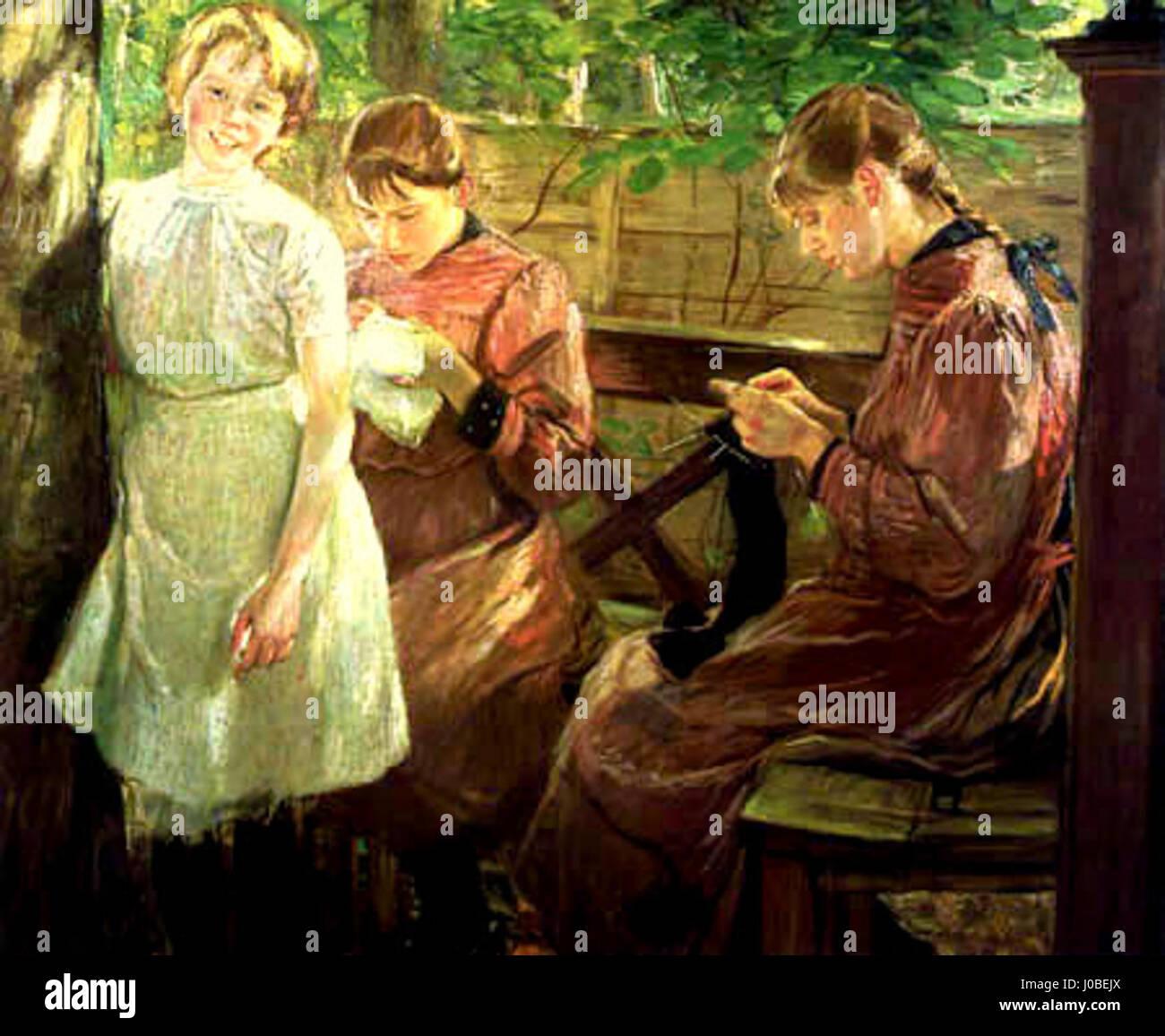 Fritz von Uhde - Die Töchter des Künstlers (1896) Foto de stock