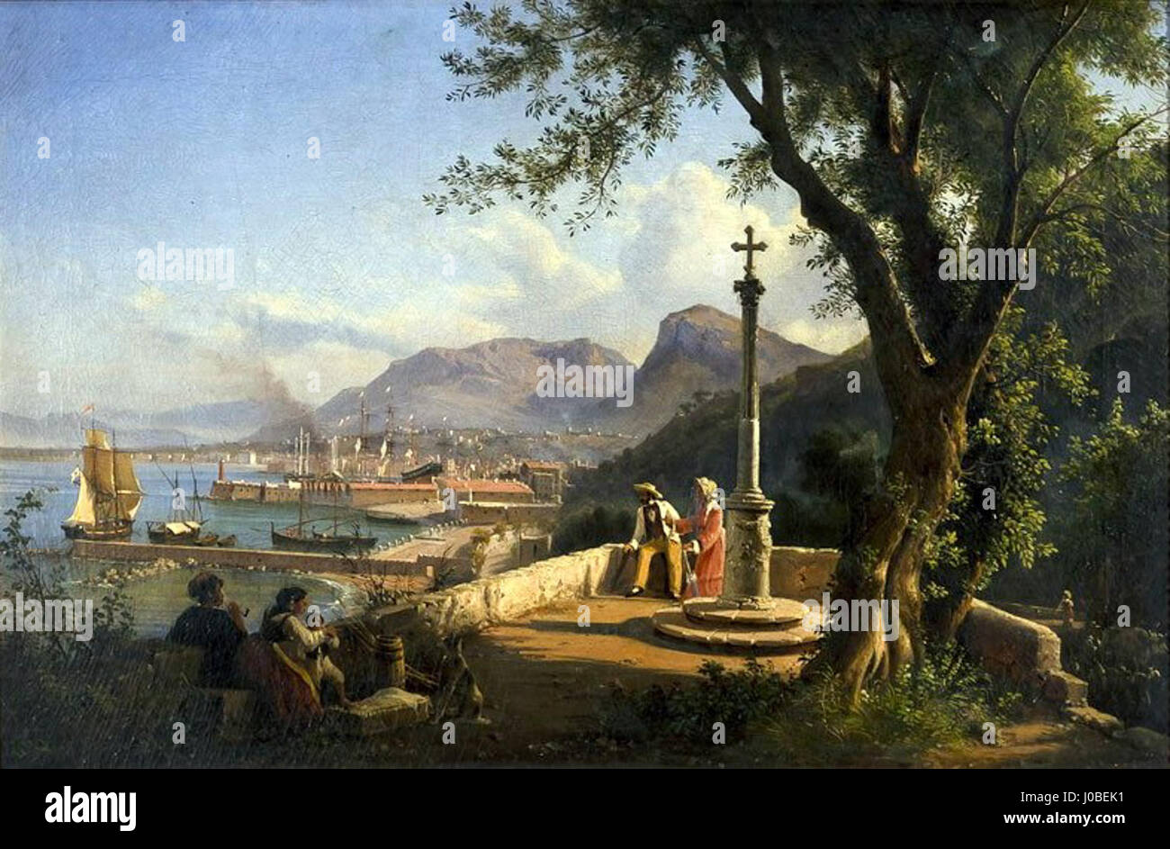 Giovanni Serritelli - Vista de Nápoles Foto de stock