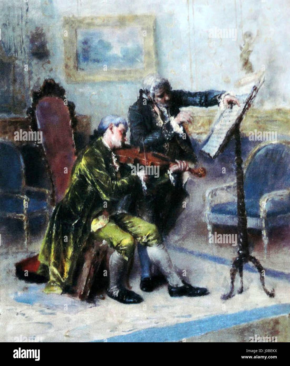José Malhoa - Um compasso difícil (Lição de violino) Foto de stock