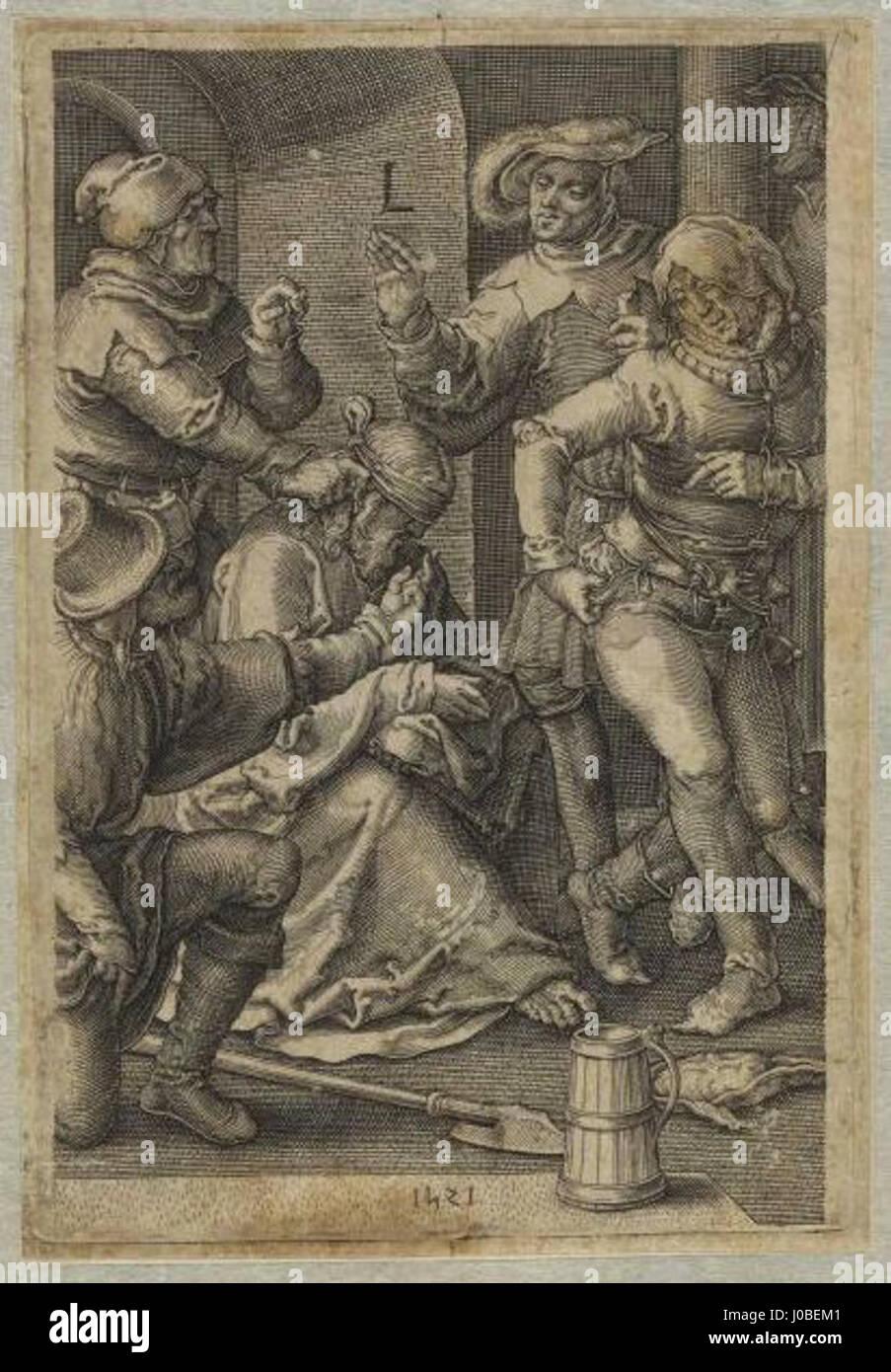 Lucas van Leyden - Jesús Cristo ultrajado no pretório Foto de stock