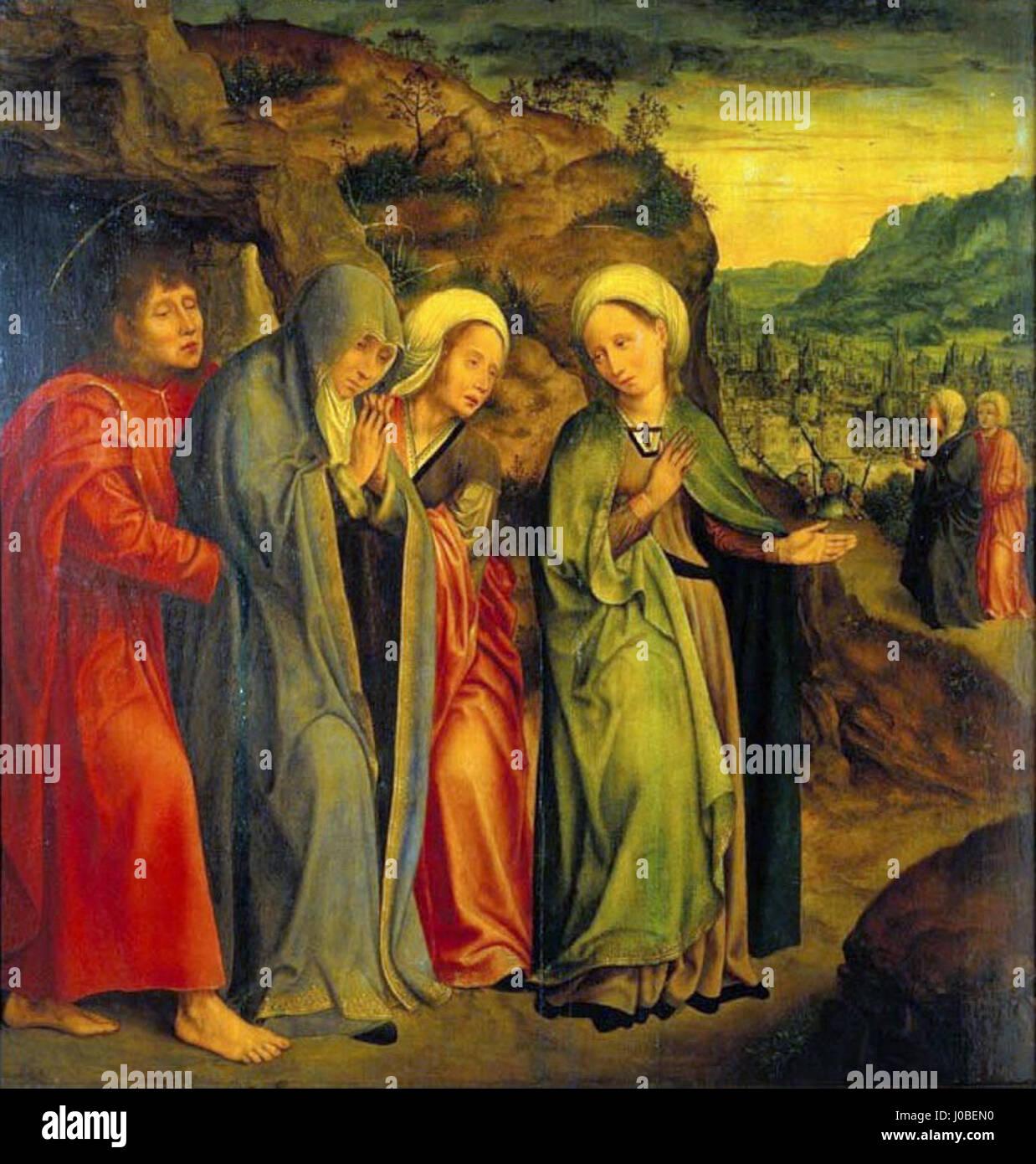 Quentin Metsys - S. João Evangelista e como Santas Mulheres depois do enterro de Cristo Foto de stock