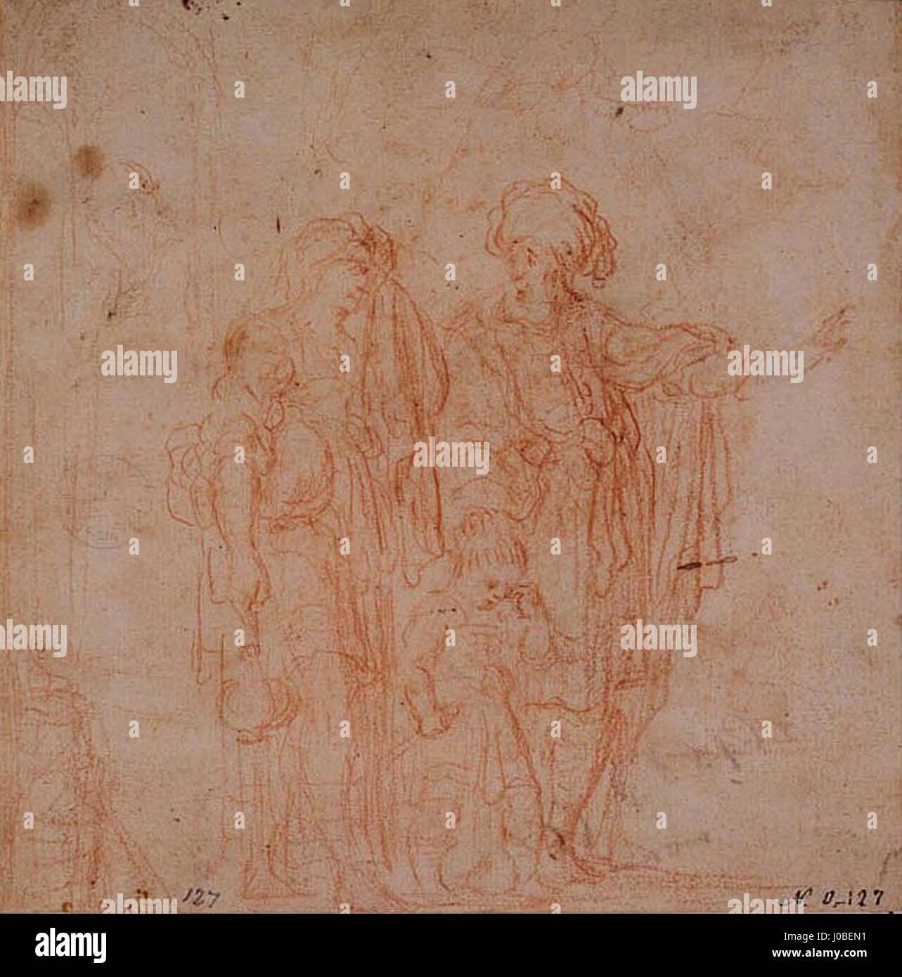 Rembrandt (atrib.) - Abraão expulsando Agar Foto de stock