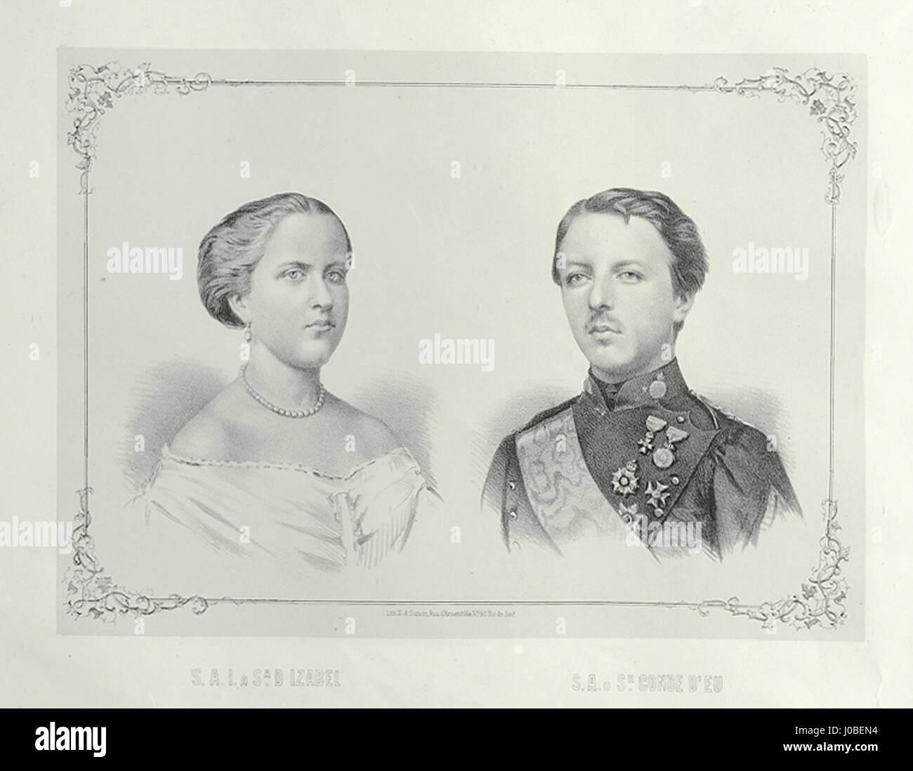 Sébastien Auguste Sisson - Gravura da Princesa Isabel e do Conde d'Eu Foto de stock