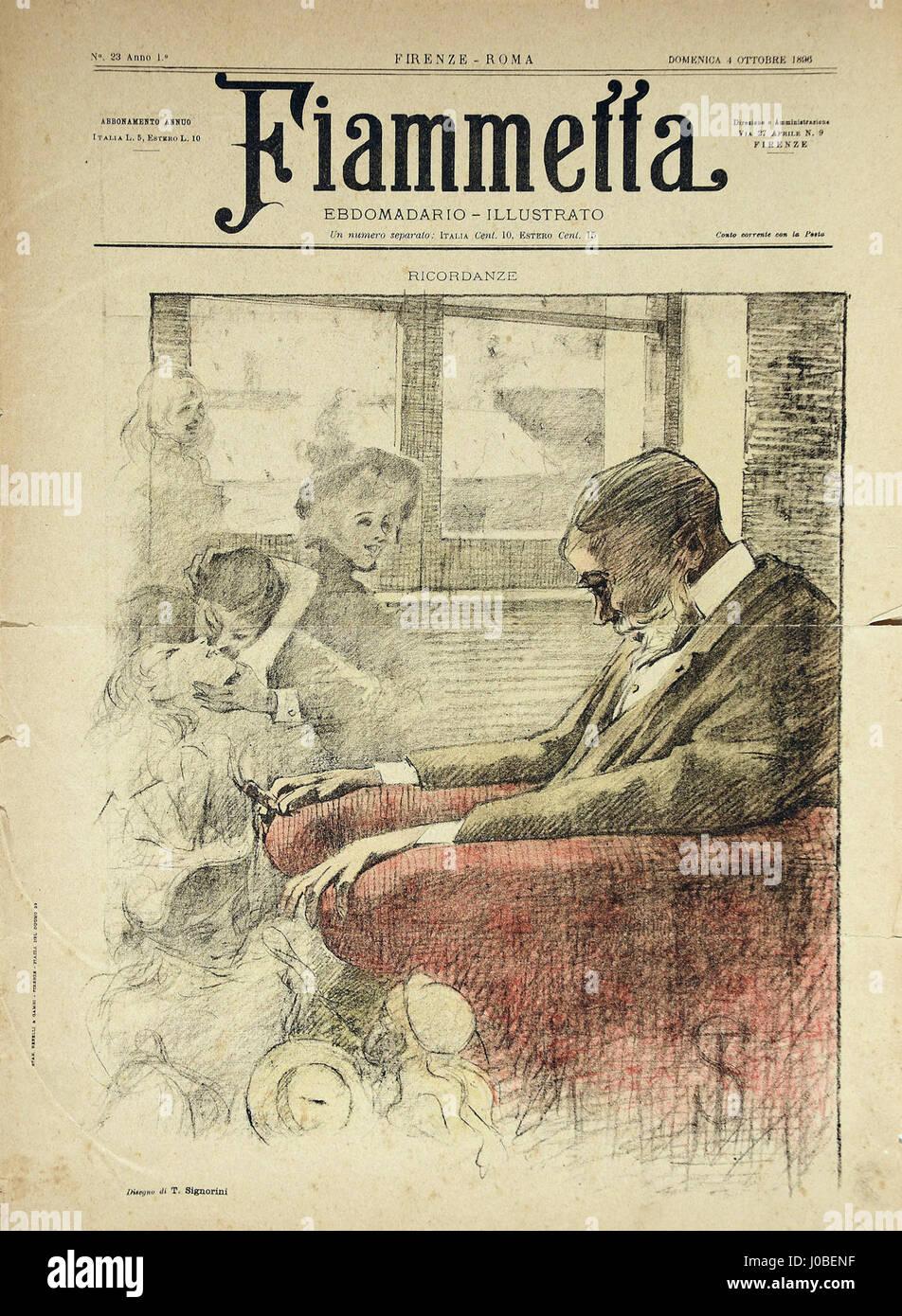Telemaco Signorini - Ricordanze, ilustração para o periódico Fiammetta Foto de stock