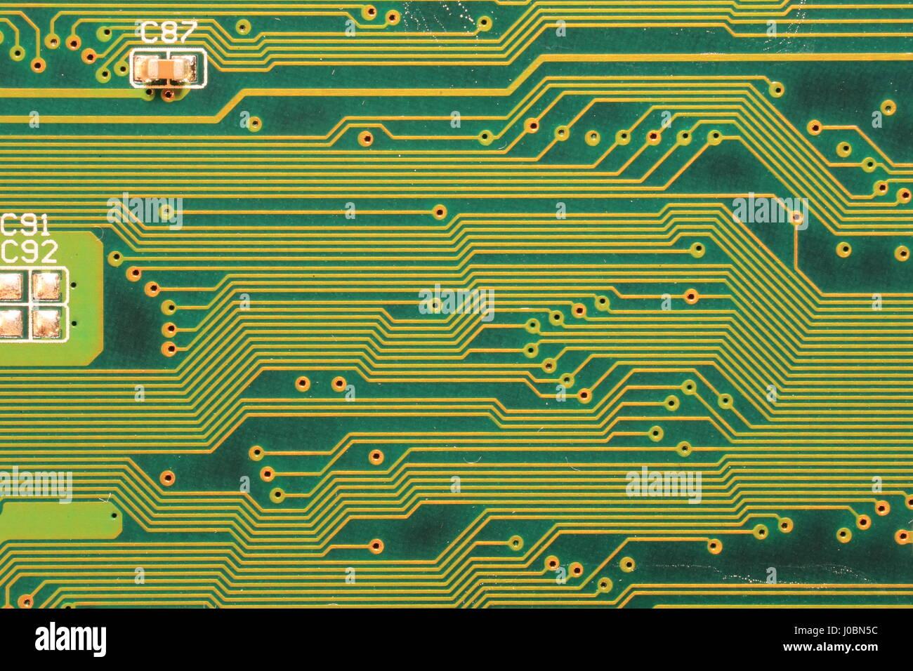 High Tech Computer Placa de circuito impreso (PCB), mostrando de cerca el detalle de los circuitos Imagen De Stock