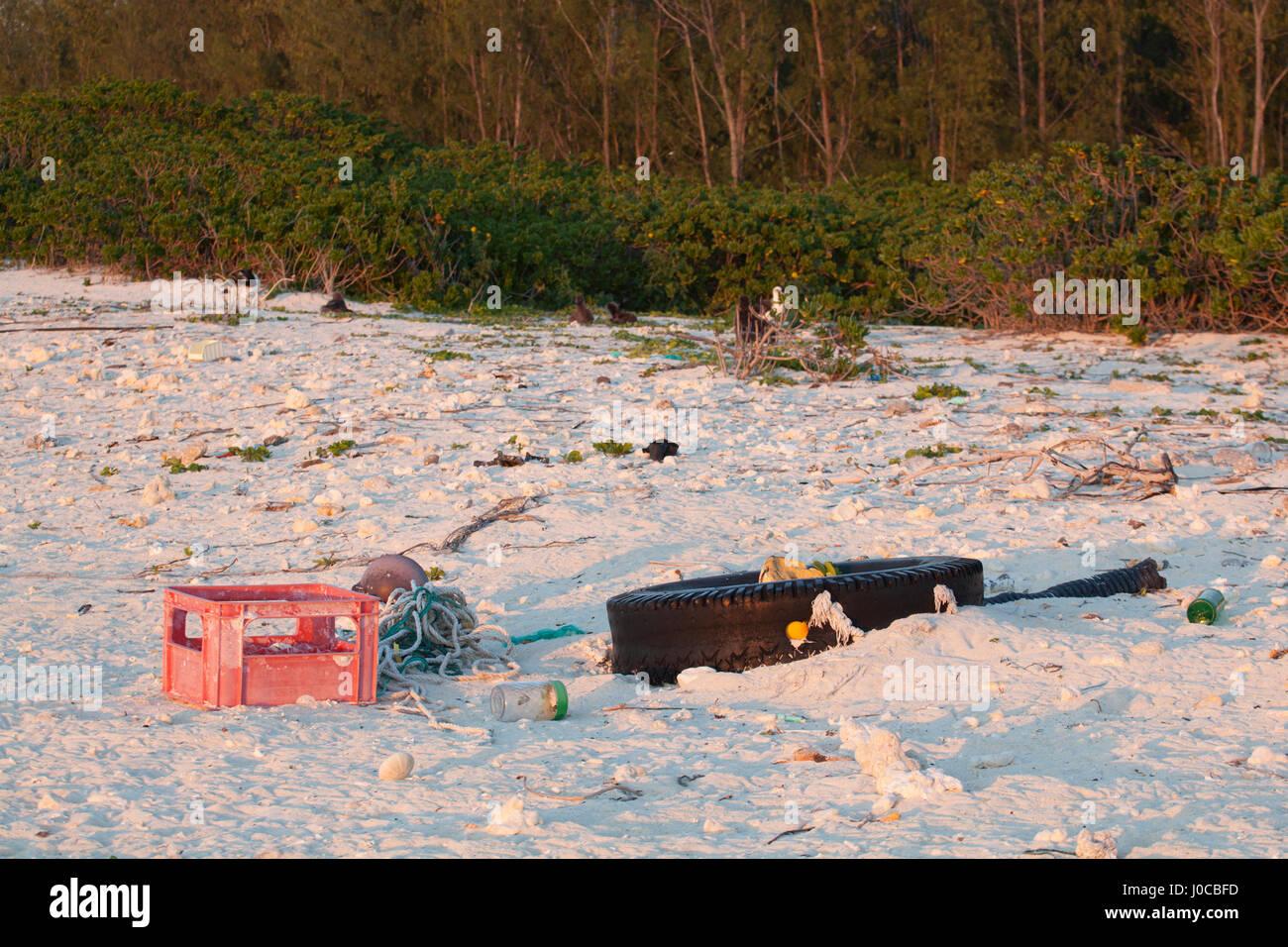 Basura, incluyendo el neumático, caja de plástico y cuerdas arrojado por el mar en la playa de una isla del Pacífico Norte Foto de stock