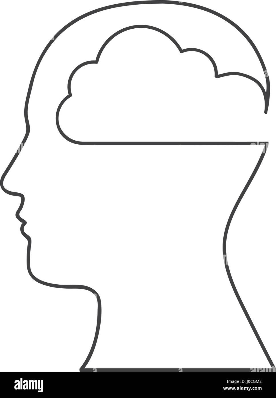 Silueta monocroma con cabeza humana con cloud dentro Imagen De Stock