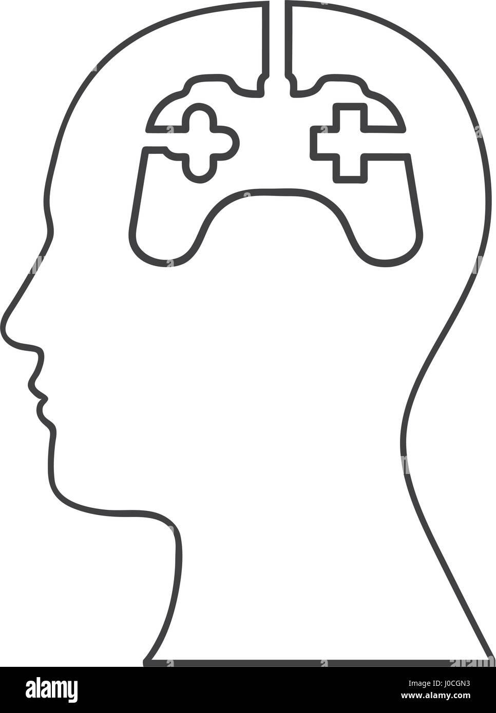 Silueta monocroma de cabeza humana y mente gamer Imagen De Stock