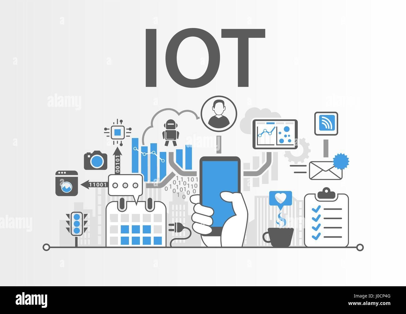 Internet de las cosas el concepto IOT como ilustración vectorial Ilustración del Vector