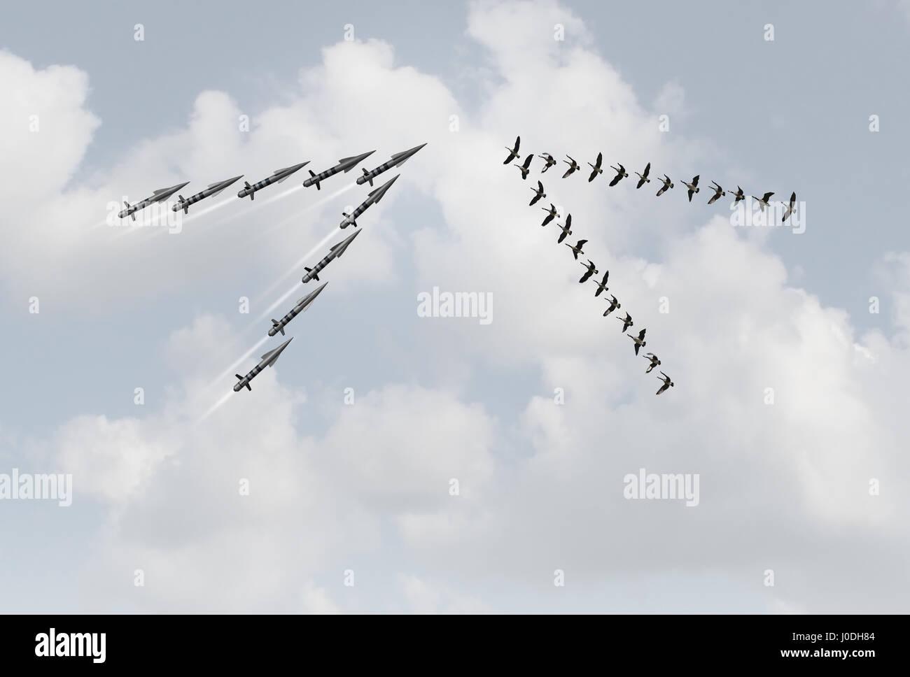 Concepto de paz la guerra como un grupo de pacíficos gansos en un v formación frente a proyectiles peligrosos Imagen De Stock