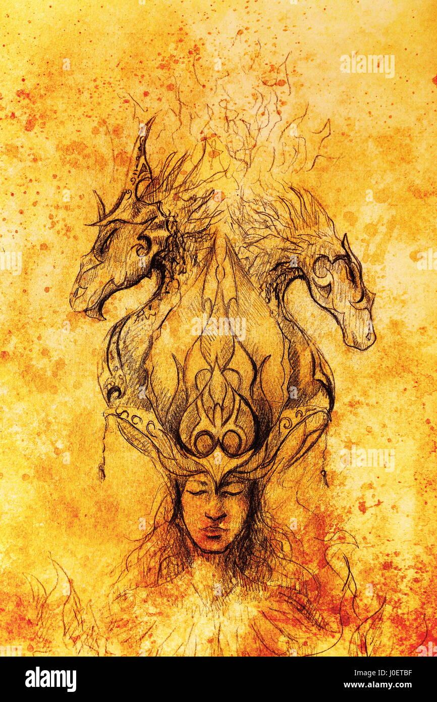 Hombre En Fuego Místico Y Dragones Ornamentales Dibujo A Lápiz