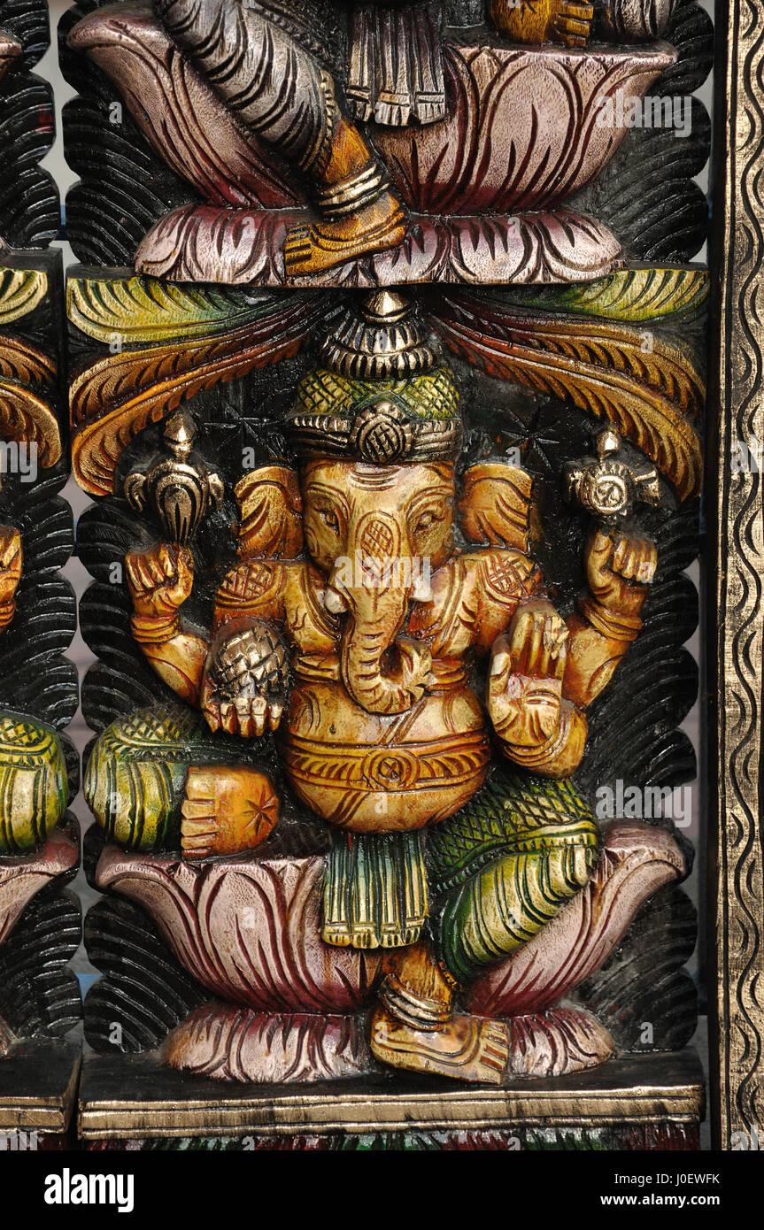 Ganesh estatua de madera tallada, Andhra Pradesh, India, Asia Foto de stock