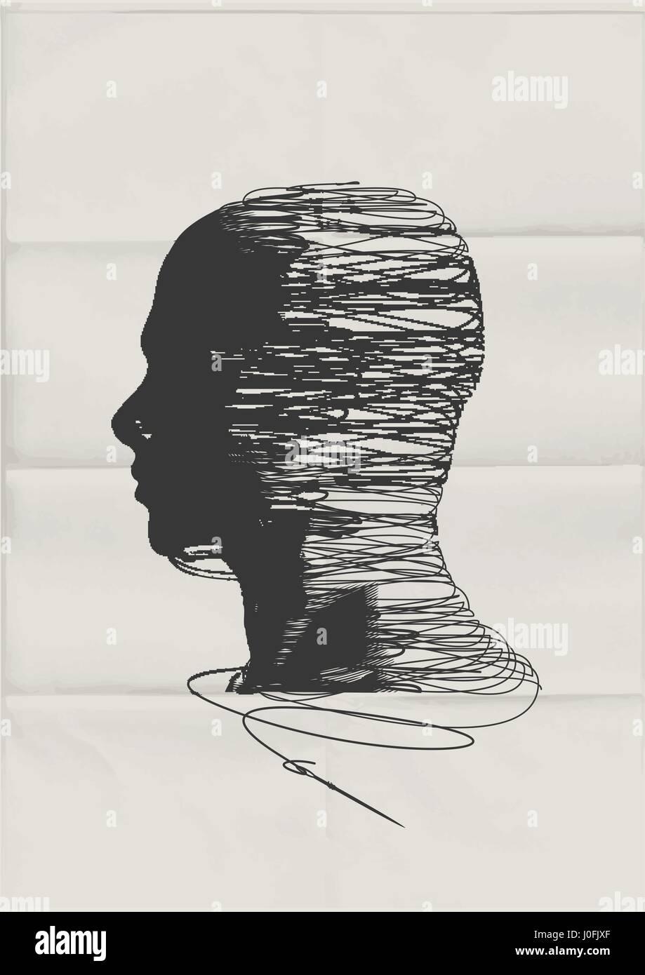 La mente humana. La forma de la cabeza de un hombre enredado con hilos de cadena - concepto de salud mental. Imagen De Stock