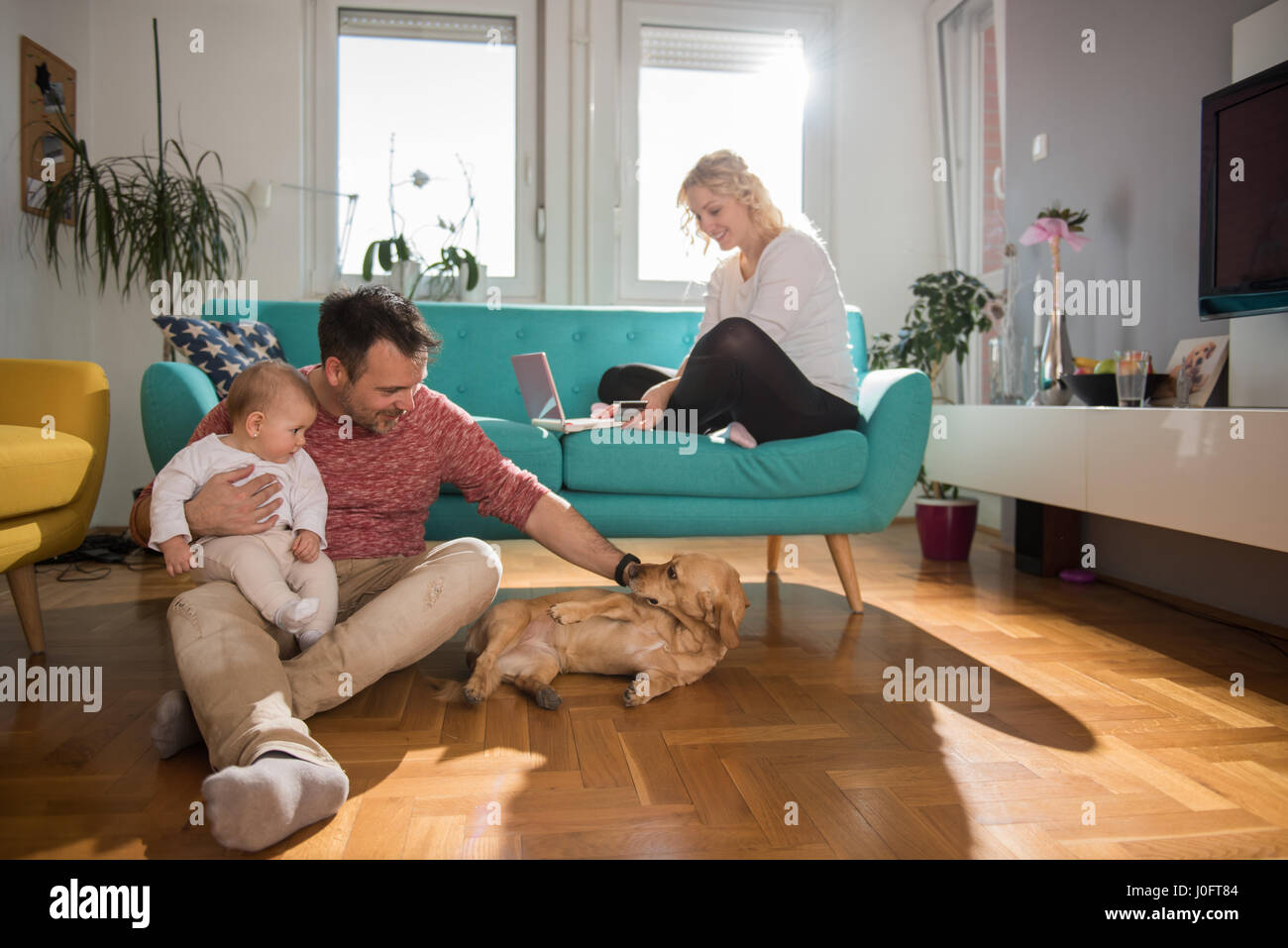 Padre sentados en el suelo y con el bebé en sus brazos jugando con el perro, mientras su esposa, sentado en Imagen De Stock