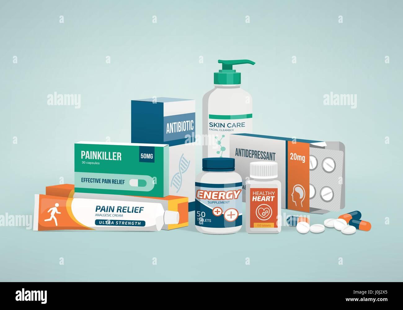 Salud, medicina y los tipos de drogas, envases farmacéuticos Imagen De Stock
