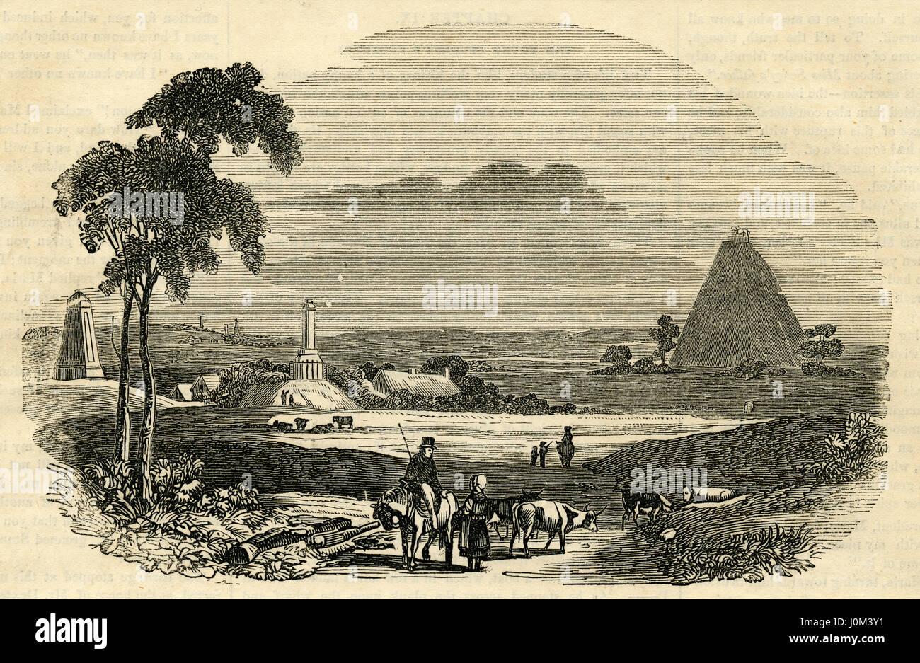 """Antiguo grabado de 1854, 'Batalla de Waterloo."""" La Batalla de Waterloo fue lidiado el domingo, 18 de junio de 1815, Foto de stock"""