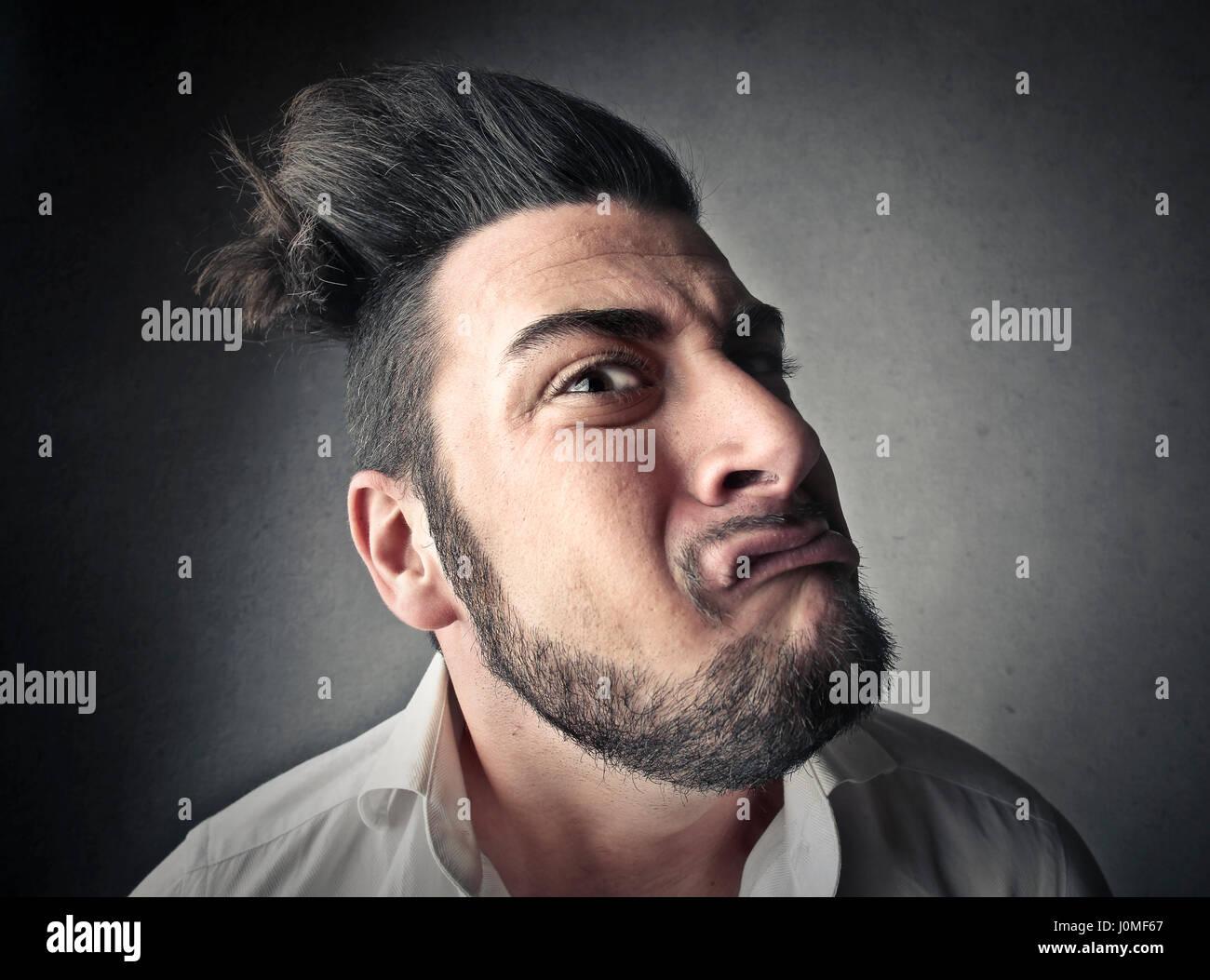 Mad Man haciendo mueca Imagen De Stock