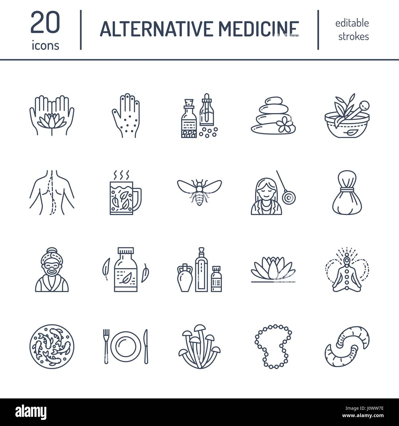 Iconos de la línea de la medicina alternativa. Tratamiento tradicional, naturopatía, homeopatía, Imagen De Stock