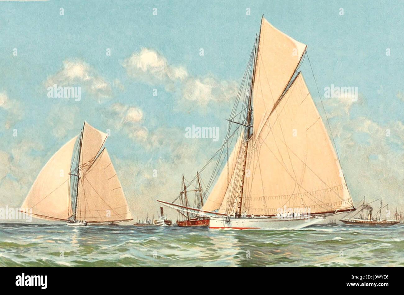 Mayflower Galatea líder en el inicio de su carrera en la America's Cup, junto a Sandy Hook, Septiembre 11, 1886 Foto de stock