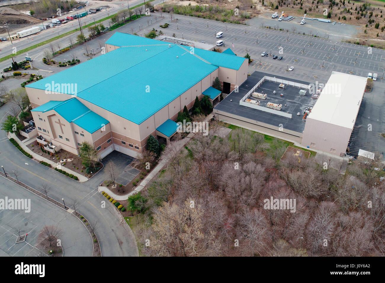 Vista aérea de la fe compañerismo - mega iglesia en Sayreville, Nueva Jersey Imagen De Stock