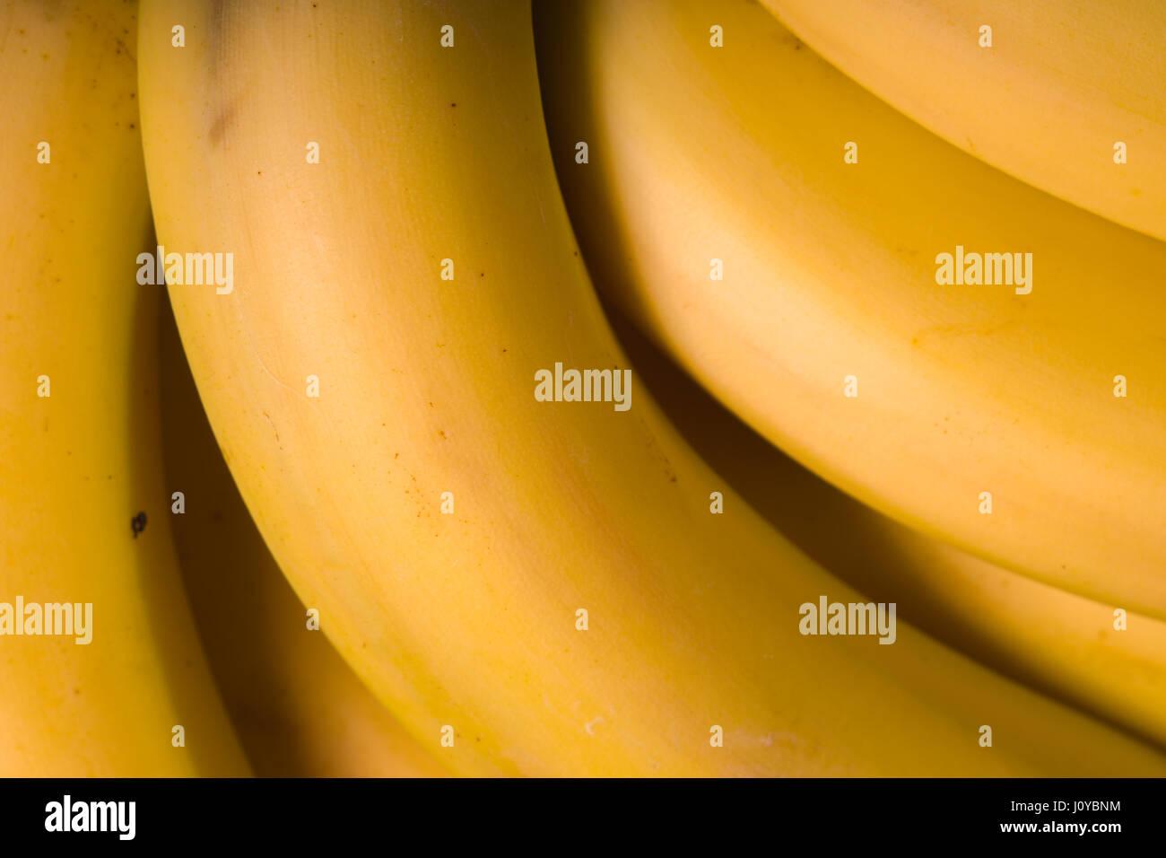 Vista superior de plátanos orgánicos frescos closeup Imagen De Stock