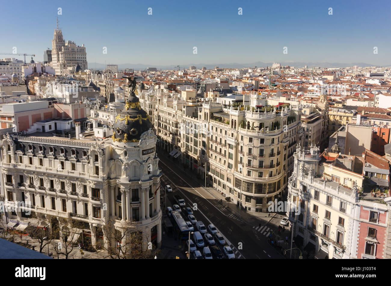 Vista Desde La Azotea Del Círculo De Bellas Artes En Madrid