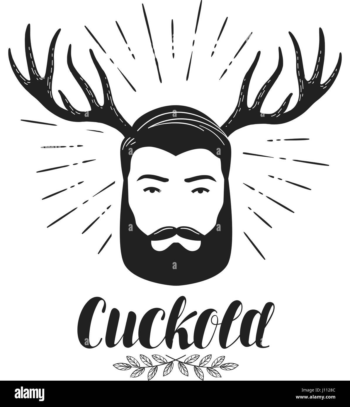 Cornudo, Icono o símbolo. Hombre Barbado con cuernos, etiqueta. Rotulación ilustración vectorial Ilustración del Vector