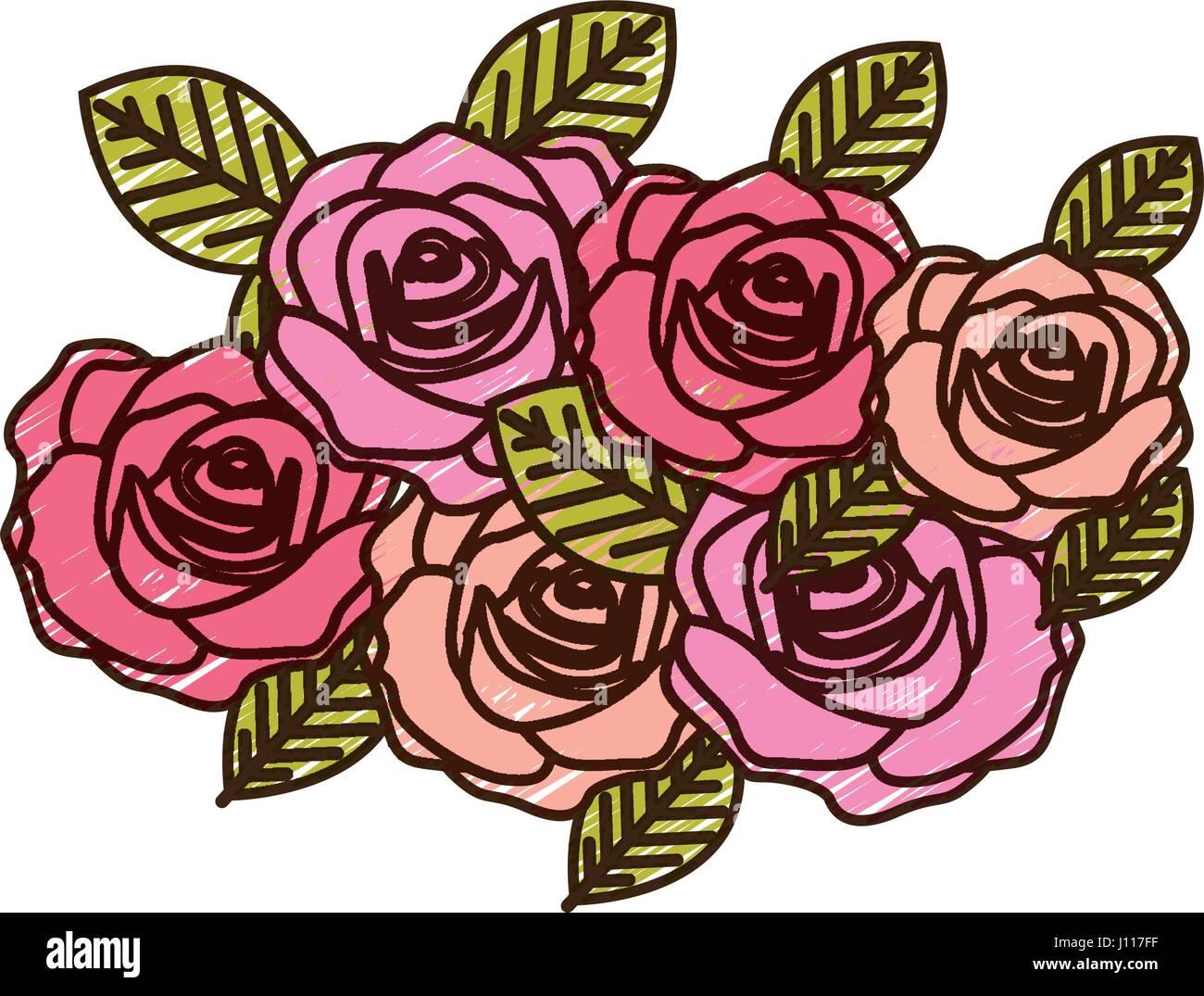 Dibujo A Lápiz De Color De Rosas Ramo Diseño Decorativo Ilustración