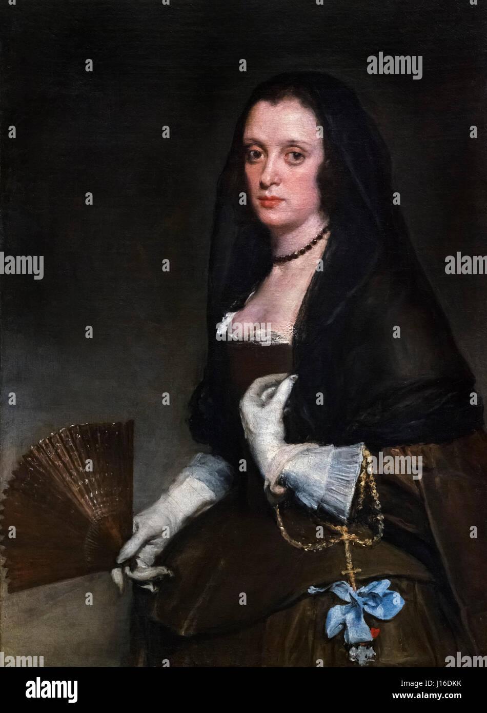 "Velázquez. ""La dama con un ventilador' de Diego Velázquez (1599-1660), óleo sobre lienzo, Imagen De Stock"