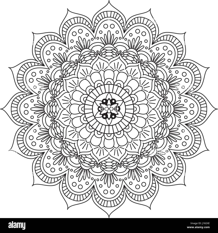 Libro para colorear Mandala. Círculo lace ornamento, ronda mandala ...