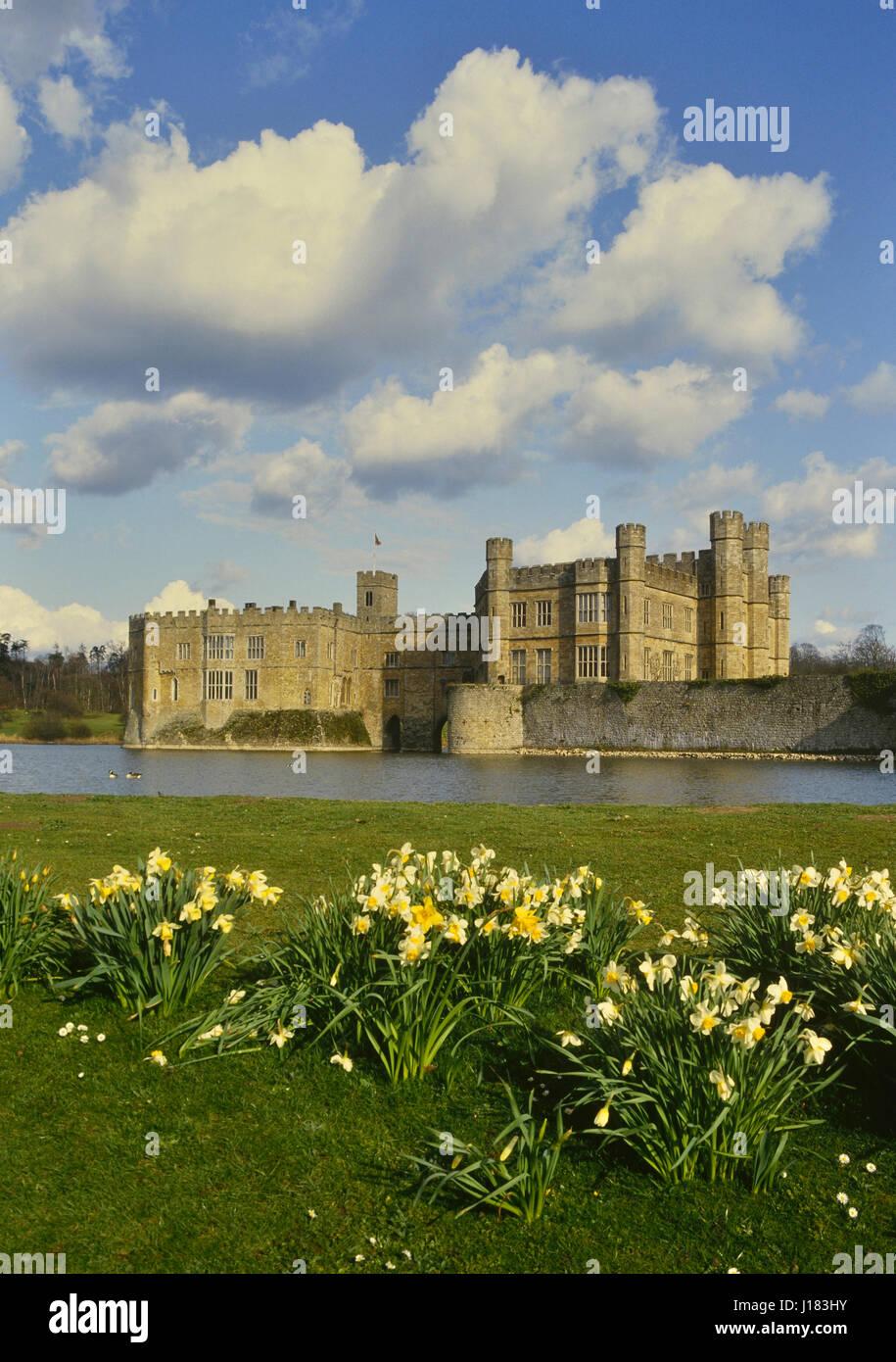 La primavera en el Castillo de Leeds. Kent. Inglaterra. UK Foto de stock