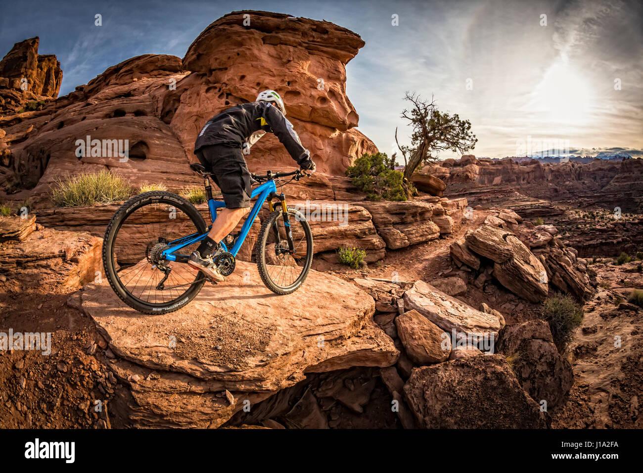 Kyle Mears mountain bike por el sendero Hymasa, Moab, Utah. Imagen De Stock