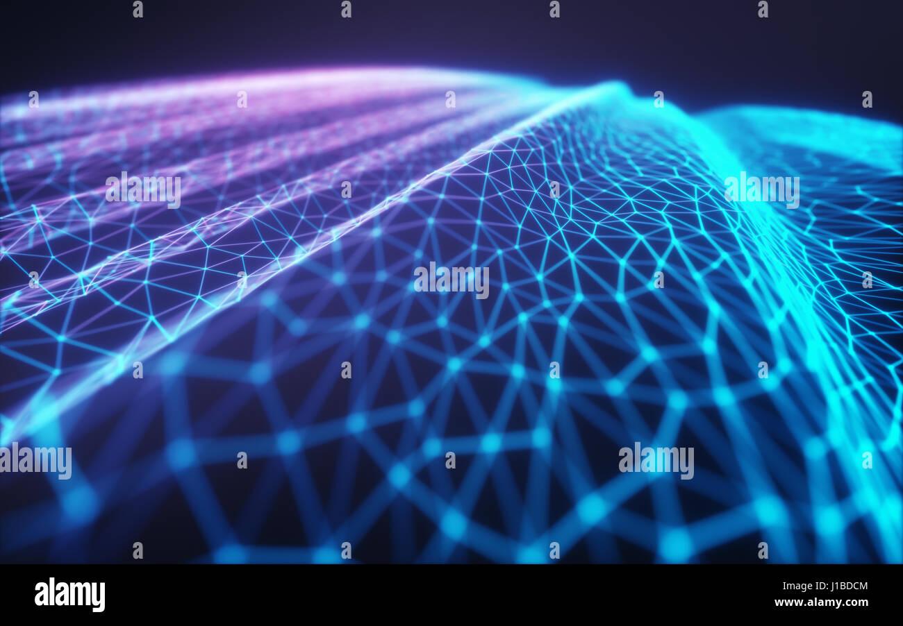 Ilustración 3D de malla, con relieves que representan las conexiones de internet, cloud computing y la red Imagen De Stock