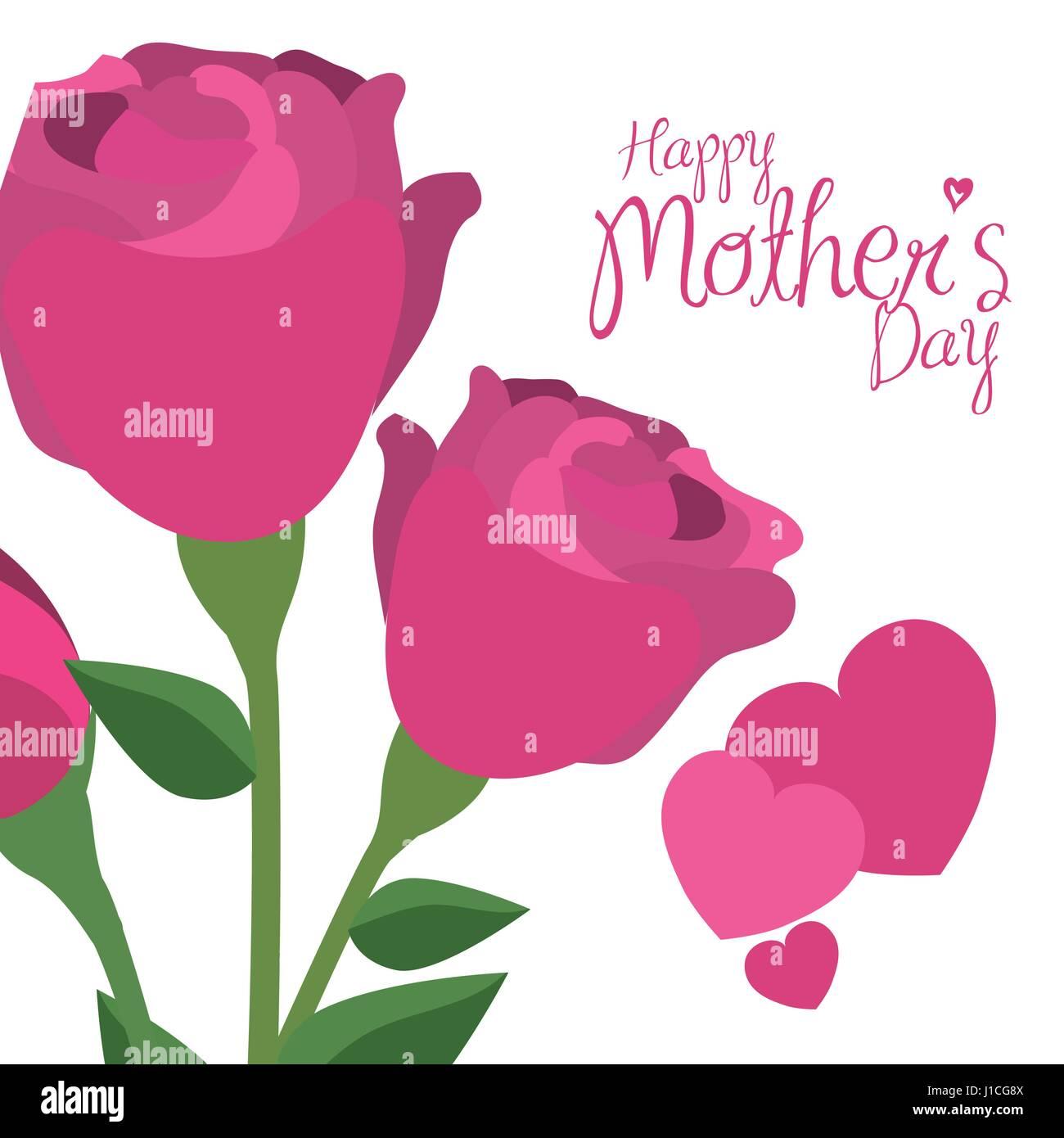 Feliz Día De La Madre Rosas Rosas Corazones Decorativos Ilustración