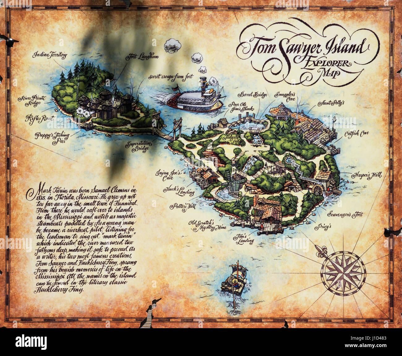 Tom Sawyer Island Explorer mapa, en Frontierland en el Magic Kingdom, Disney World Resort, Orlando, Florida Foto de stock