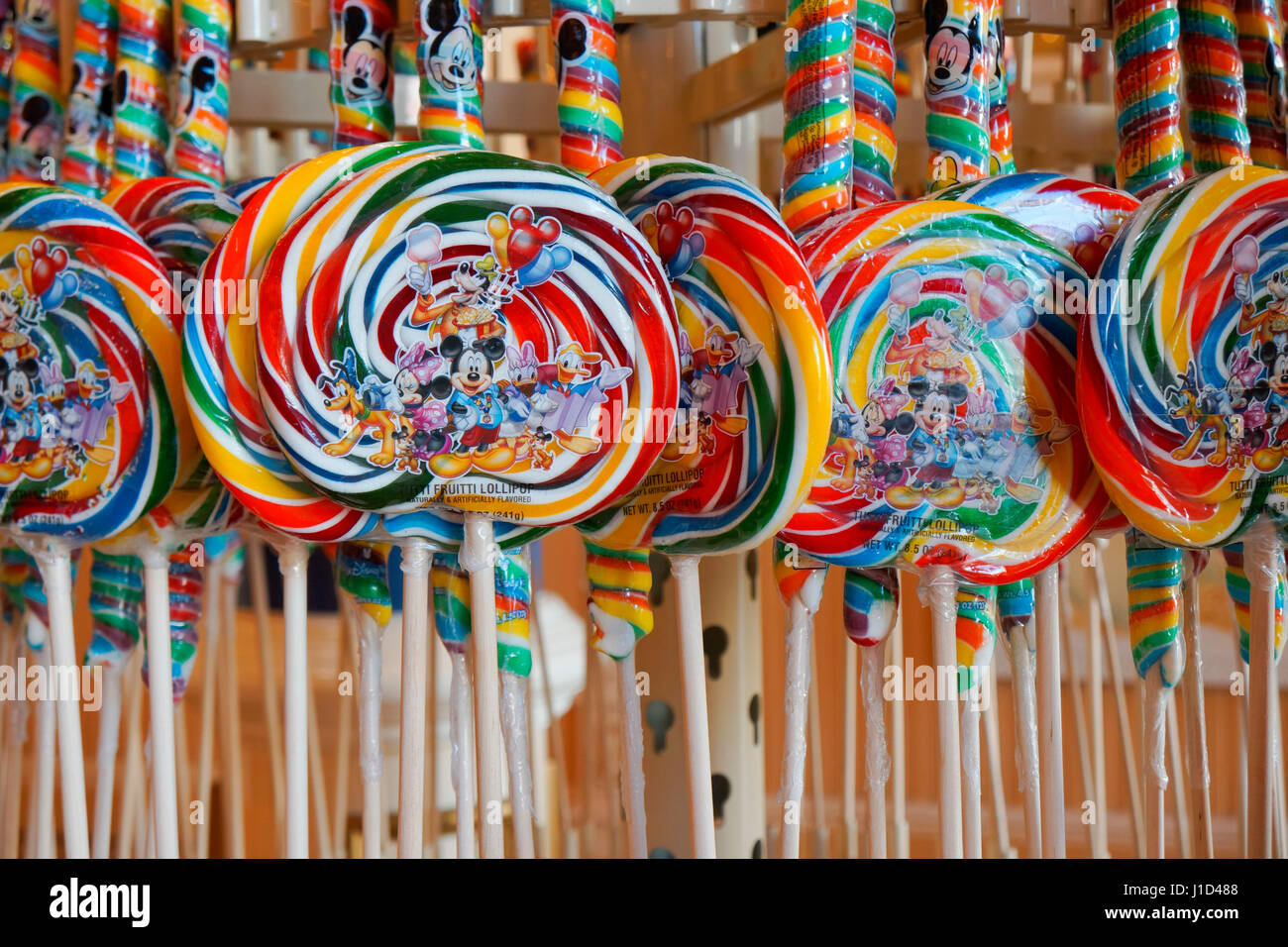 Disney Lollipops, Candy Caramelos dulces en una tienda de Disney, Magic Kingdom, Disney World, Orlando, Florida Imagen De Stock