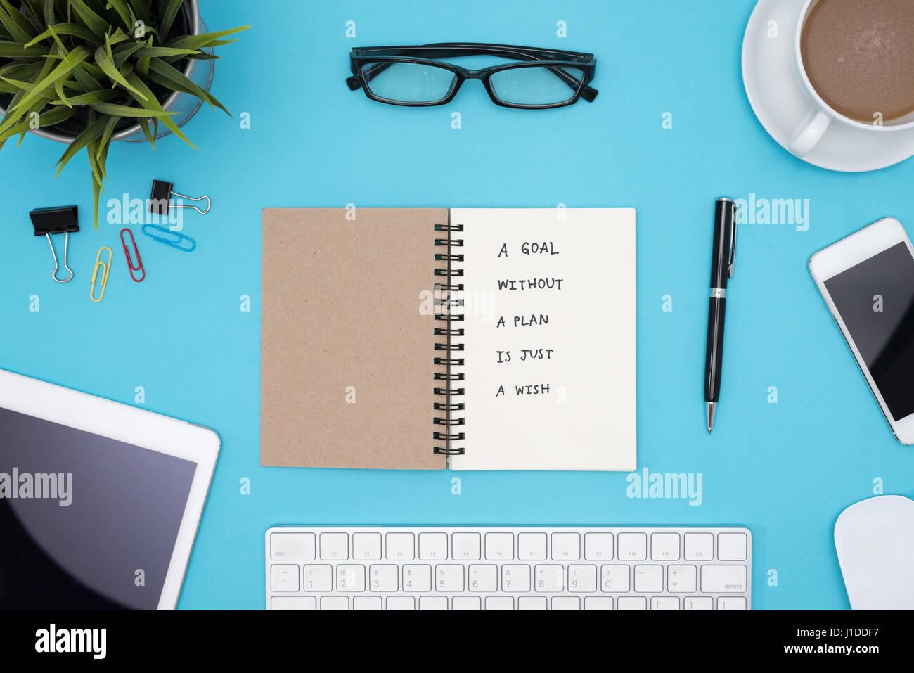 Un Objetivo Sin Un Plan Es Sólo Un Deseo De Escritura