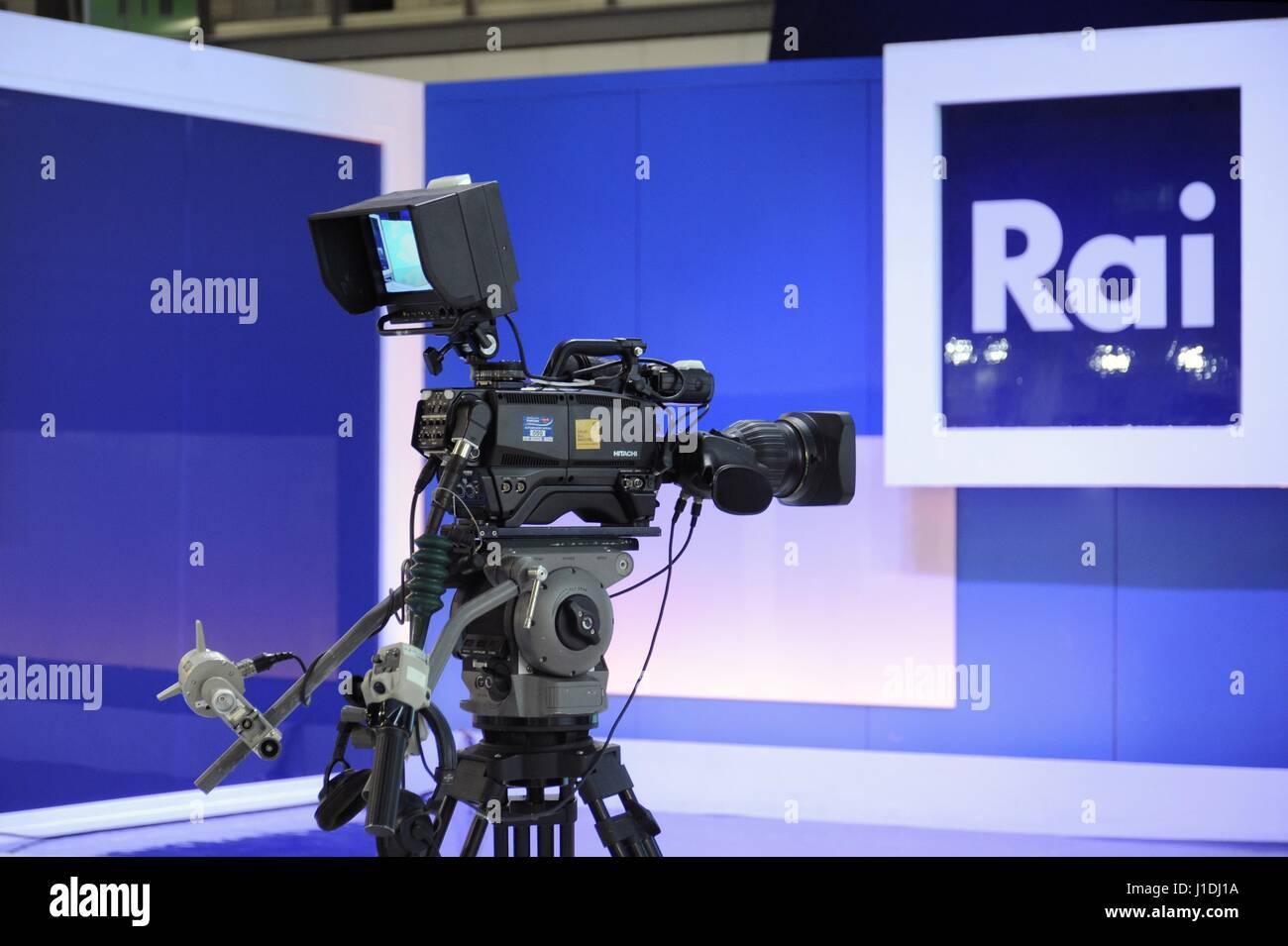 """La participación de la RAI Radiotelevisione Italiana en la feria del libro de Milán """"Tiempo de libros' Imagen De Stock"""