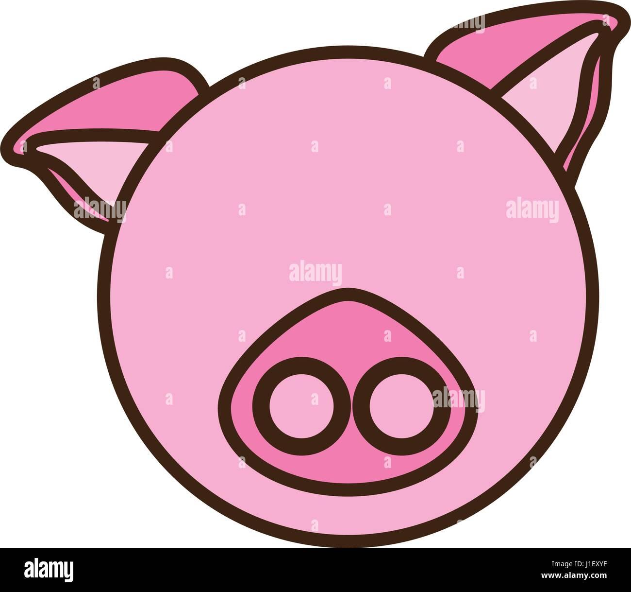 Cara de cerdo animal de dibujos animados Ilustración del Vector ...