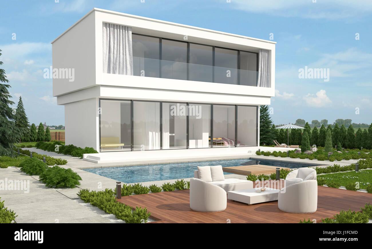 Diseadores de casas san angel casas de estilo moderno por for Casa moderna blanca con piscina