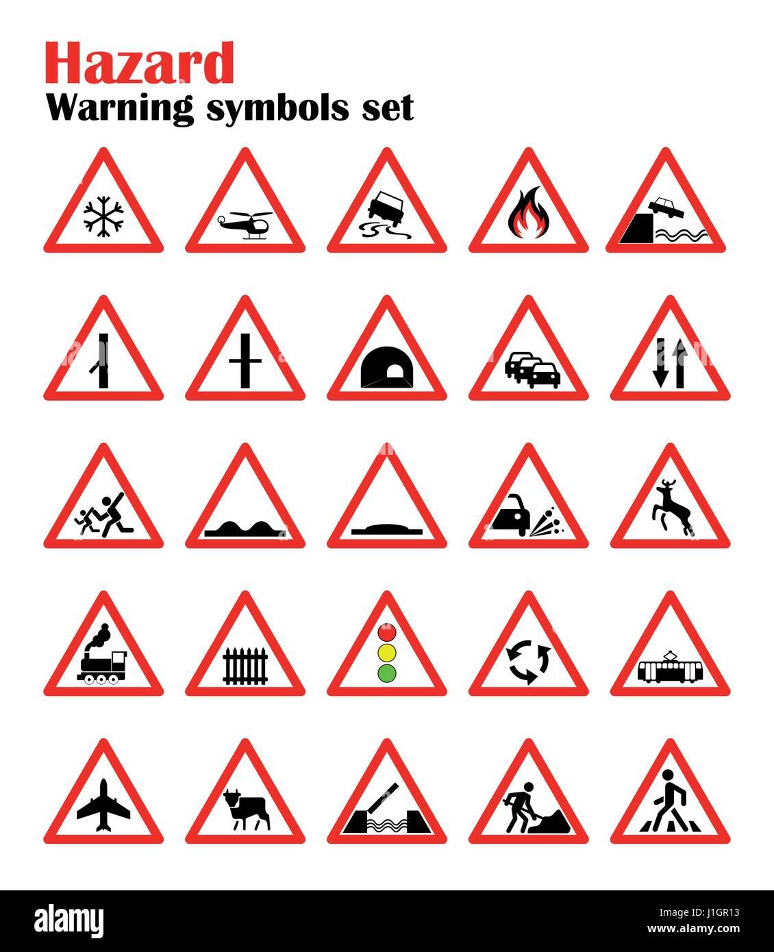 5cc0059b43db0 Conjunto de señales de advertencia de peligro en carretera