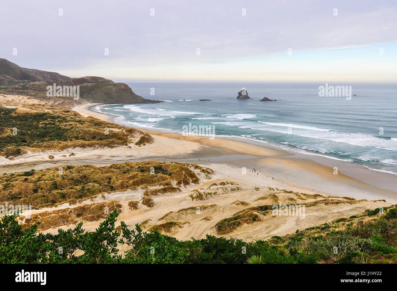 Vista de la playa casi vacía en el flebótomo Bay en la península de Otago, Nueva Zelanda Foto de stock