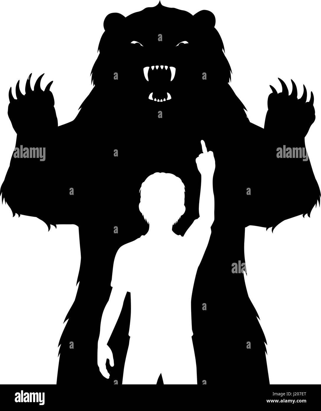 Ilustración vectorial editable de un niño sin miedo a un feroz oso Imagen De Stock