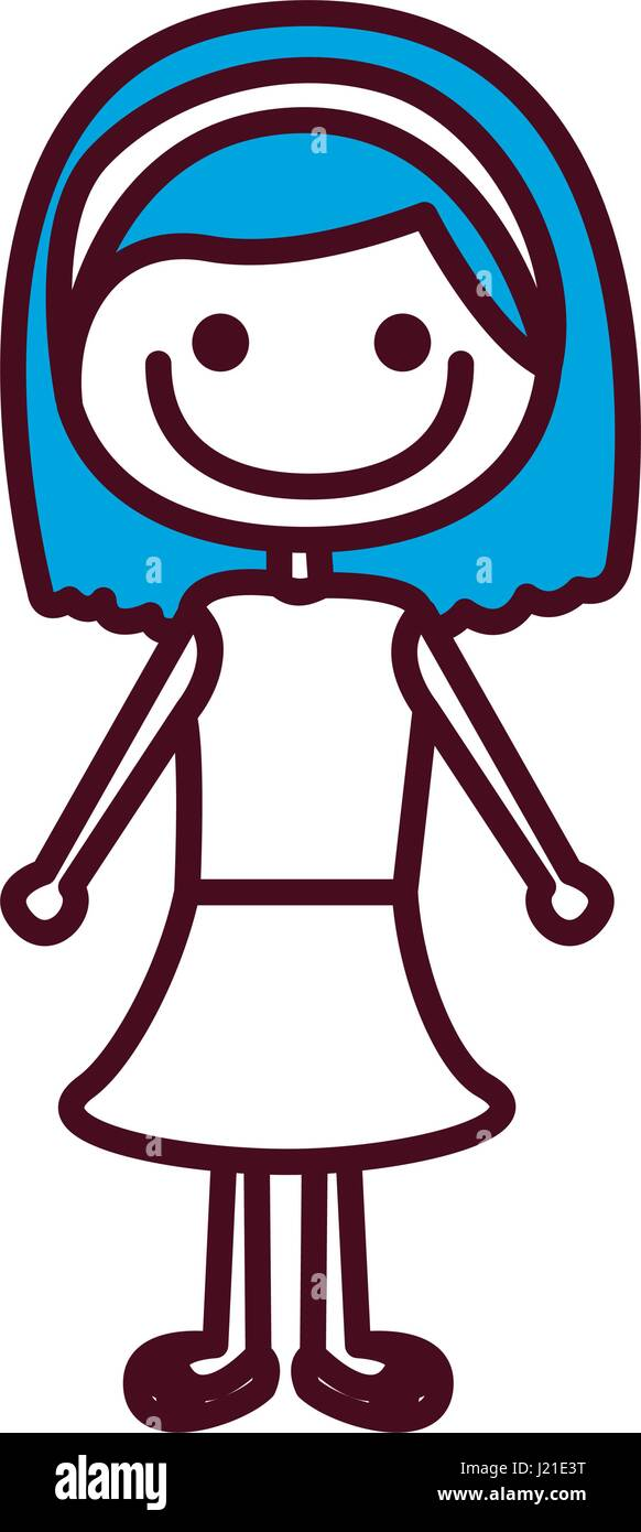 Dibujo a mano alzada, silueta azul pelo corto chica con falda Ilustración del Vector