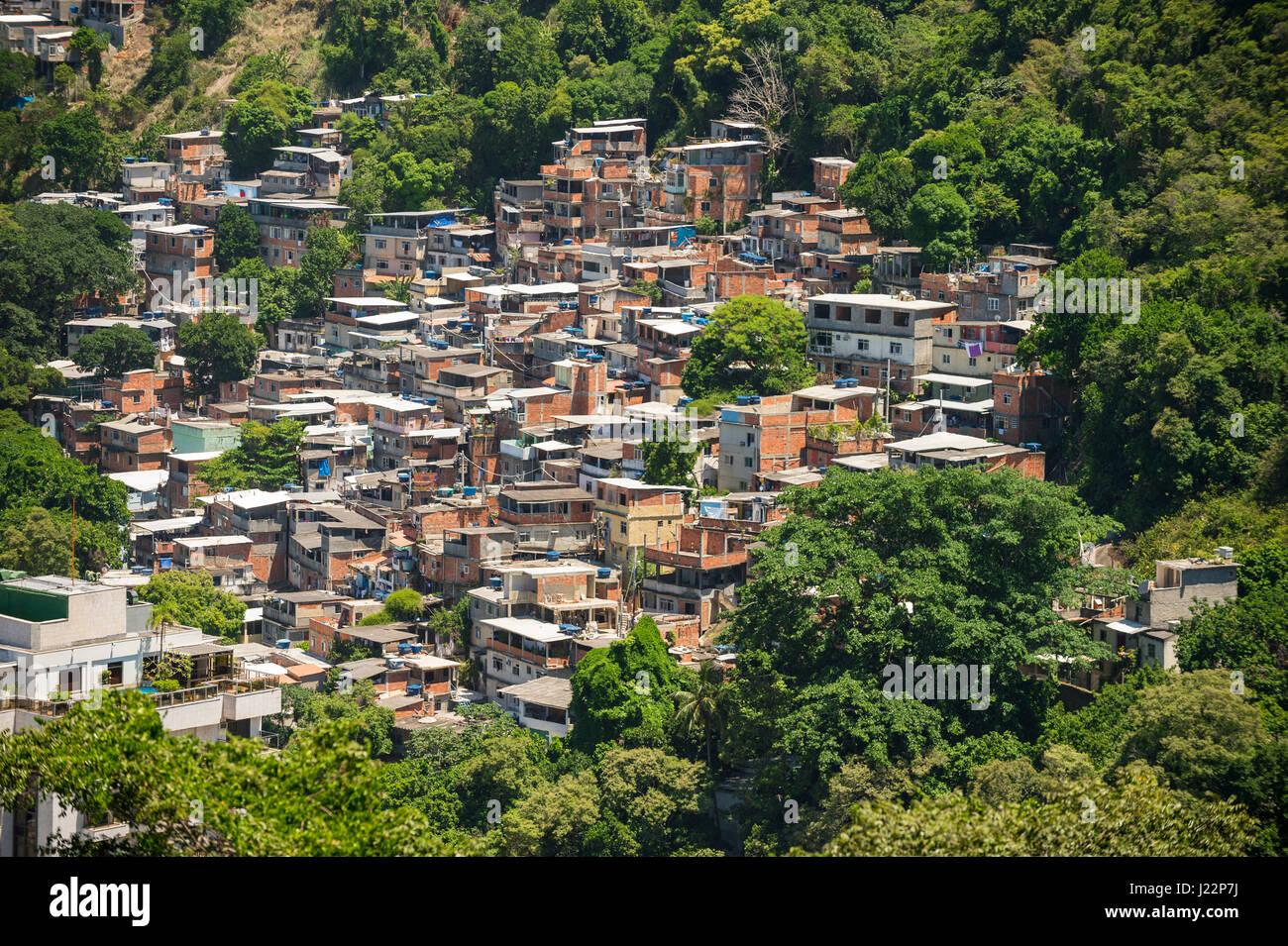 Hillside favela tugurio tomando la vegetación de una colina en Río de Janeiro, Brasil Foto de stock