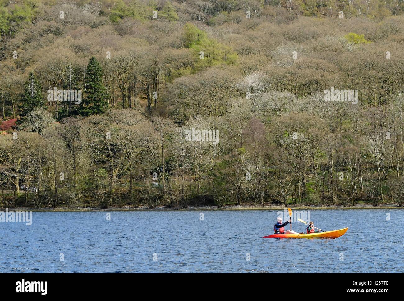 Padre e hijo canotaje en el lago Coniston, Cumbria Imagen De Stock