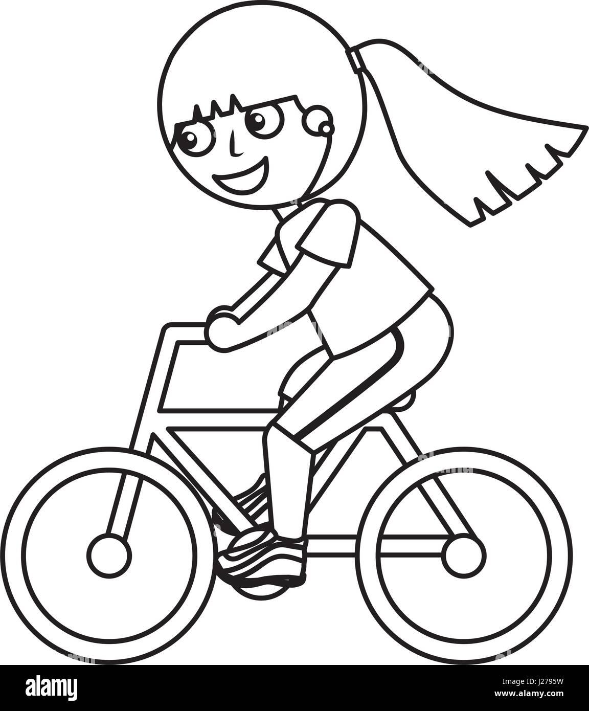 Niña montando bicicleta Ilustración del Vector, Imagen ... Andar En Bicicleta Para Colorear