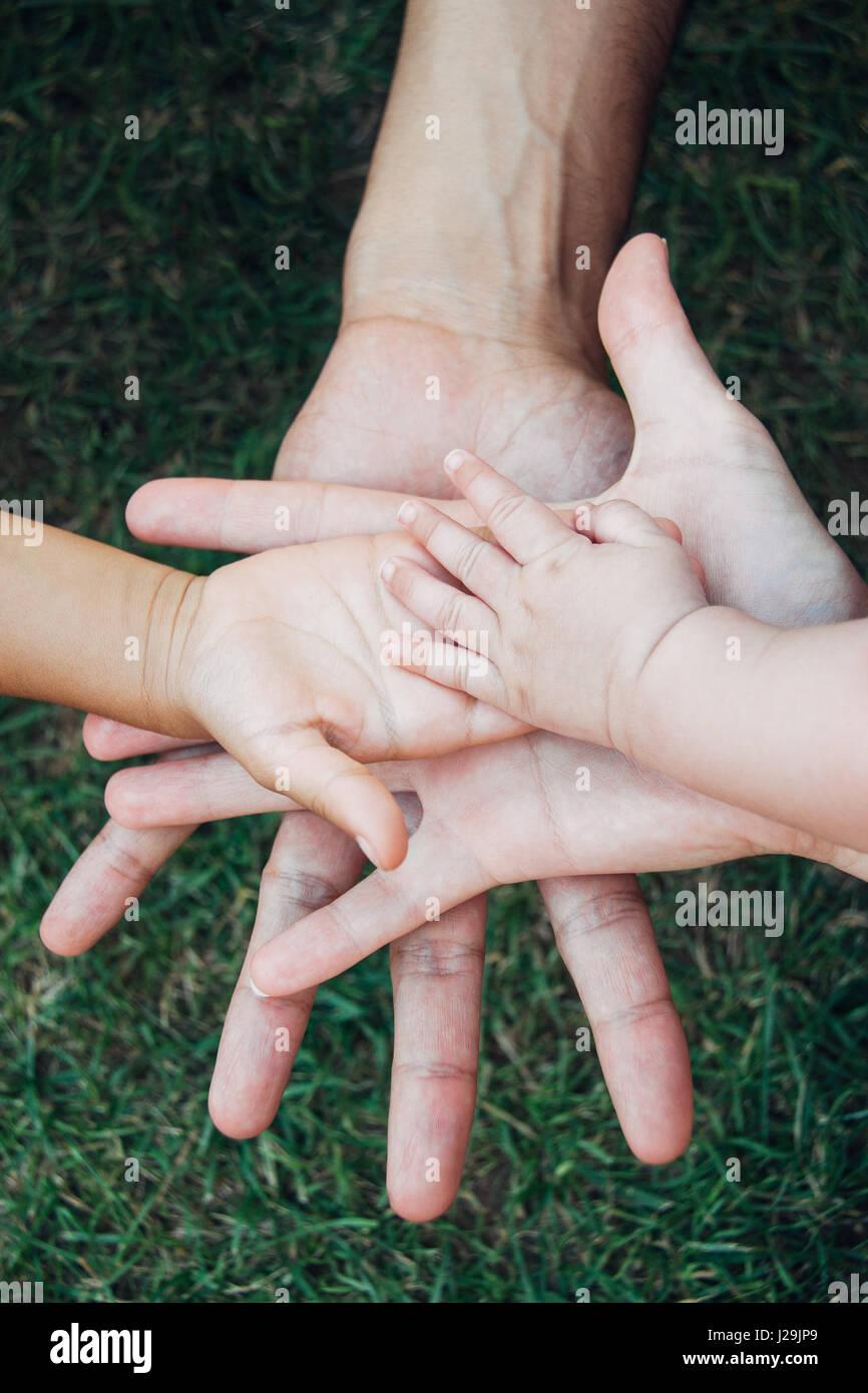 Cuatro manos de la familia, un bebé, una hija, una madre y un padre. Concepto de unidad, apoyo, protección Imagen De Stock