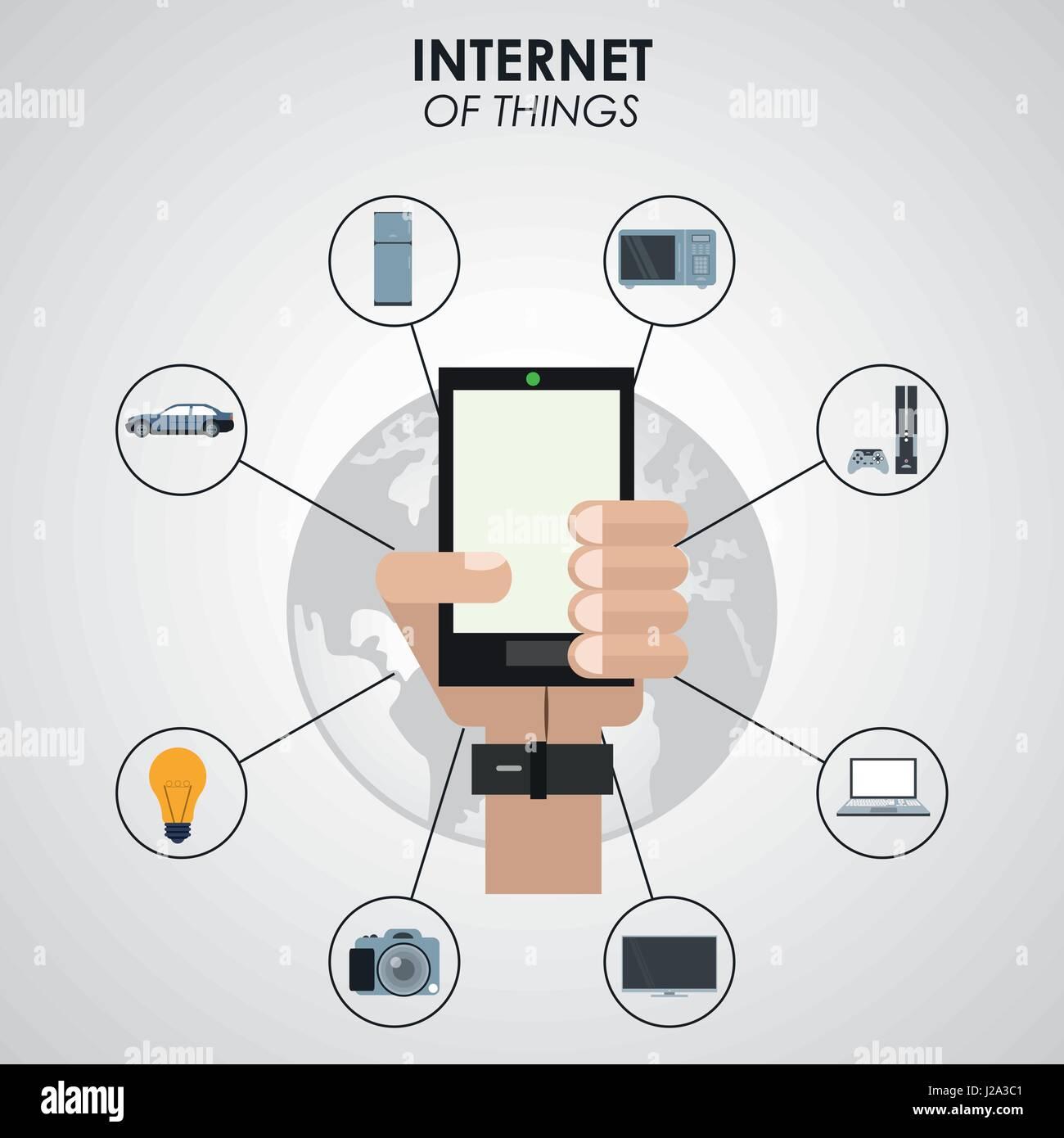 Internet de las cosas mano sujetando el smartphone tecnología de red digital Ilustración del Vector